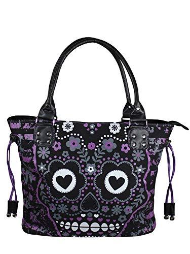 Lost Queen Purple Candy Flower Sugar Skull Cotton Canvas Shoulder Bag