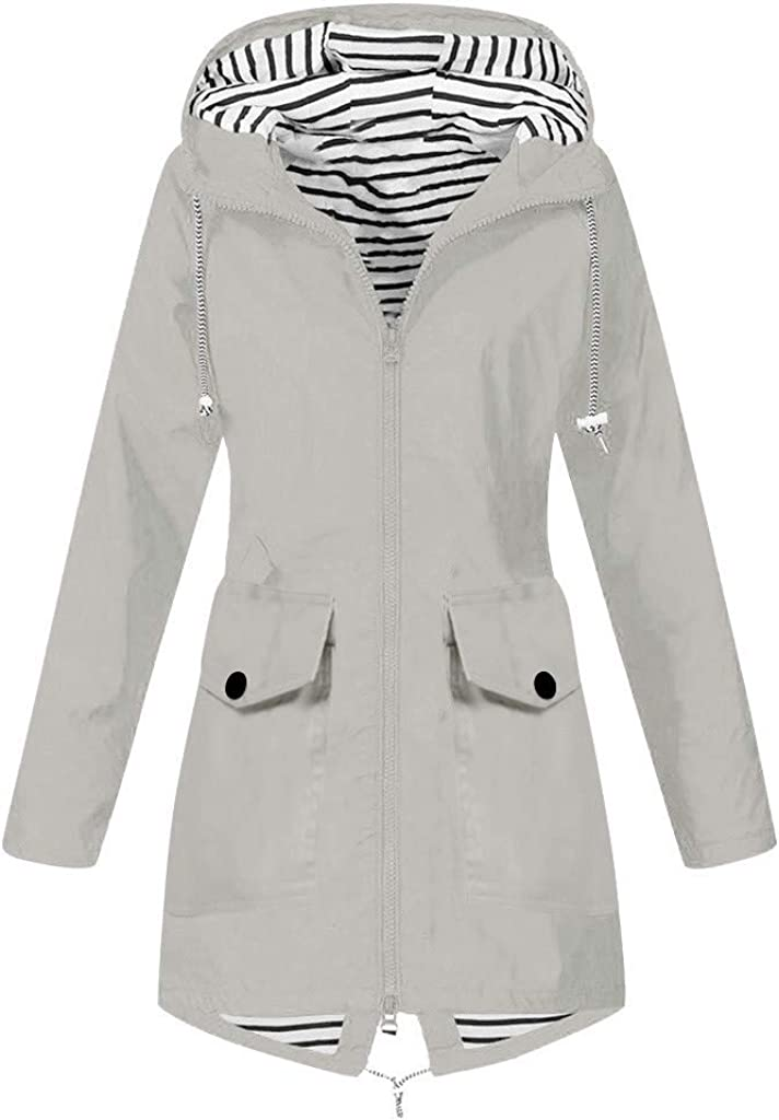 Women Solid Rain Outdoor Plus Size Waterproof Hooded Windproof Loose Coat Windbreaker Jacket Pea Coat Trench