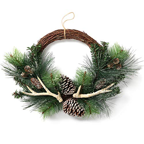 LOHASBEE Artificial Christmas Wreath, 22'-24' Pine Cone Grapevine Frosted Wreath with Deer Antlers for Christmas Home Front Door Hanging Wall Window Decor