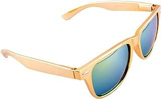 Gold Metallic Square Sunglasses Iridium Lenses