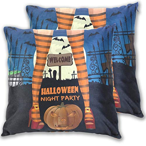 Butlerame 2 Piezas Fundas de Fundas de Almohada de Feliz Halloween, Disfraz de pies de Bruja, Funda de Almohada para Fiesta de Bienvenida, Funda de Almohada, Funda de cojn, estndar 18x18in