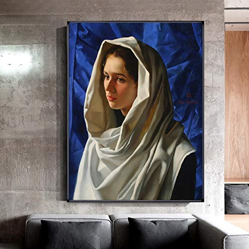 Moderne zakdoek dames canvas schilderij poster print HD wanddecoratie kunst foto van woonkamer eetkamer frameloze schilderij 50x75cm