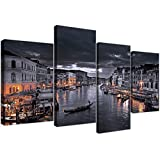 Large Black and White Venice Grand Canal Italy - Landscape Canvas Split Set of 4 - 51in Wide - 4229 - Wallfillers®