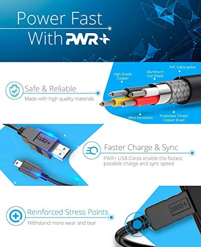 Pwr 10-Feet USB A to Mini-B 5pin 28/28AWG Cable Cord (103897)