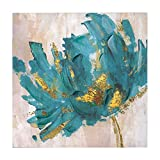 """Faicai Canvas Flower Paintings Turquoise and Gold Lotus Hand Painted 3D Textured Oil Paintings Modern Abstract Canvas Wall Art Pictures Home Decor for Living Room Office Hotel Wooden Framed 24""""x24"""""""