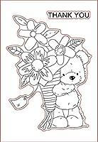 バラを保持している11x16クマの子DIYスクラップブッキングフォトアルバム用の透明なクリアシリコンスタンプシール装飾的なクリアスタンプ