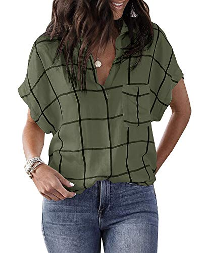 Beautife Womens Casual V Neck Short Sleeve Plaid Shirts Loose Summer T Shirts Blouses with Pocket Army Green