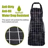 RenFox Schürze, Wasserdicht Kochschürze mit Taschen,Verstellbarem Küchenschürze in Profiqualität,Grillschürze,latzschürze,Küchenschürze (Schwarz-Weiß-Gitter) - 8