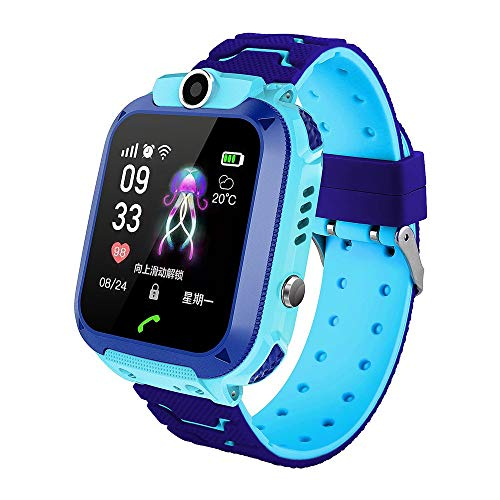 Smartwatch waterdicht, GPS-tracker voor kinderen, met SOS-oproepzaklamp, camera, aanraakgevoelig scherm, compatibel met iOS en Android, blauw