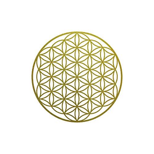 Aufkleber Tattoo 10cm gold Auto Tür Fenster Heck Klebe Folie Blume des Lebens Lebensblume
