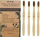 LOVE THE ECO® Cepillos de Dientes Bambú para Adultos con Cerdas de Carbón Activado | x4 Modelos Diferentes | Mejoran el Sangrado de Encías | Biodegradable, Ecológico, Vegano, Sostenible