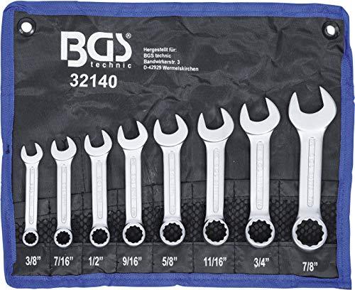 """BGS 32140   Maul-Ringschlüssel-Satz   8-tlg.   extra kurz   Zollgrößen   SW 3/8"""" - 7/8""""   inkl. Tetron-Rolltasche   Gabelringschlüssel"""