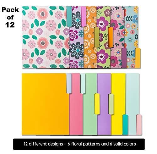 12 Cute File Folders -Floral File Folders & Colored File Folders in Vibrant Colors -Decorative File Folders -Pretty File Folders- 300 gsm Thick, Letter Size File Folders - 9.5 x 11.5 inch (Pack of 12) Photo #5