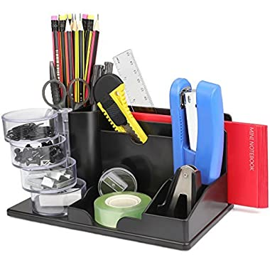 Desk Organizer Caddy, Study Room Storage Organization, for Start-Up Employee and Kids, Come with 12 Accessories Set, Best Desktop Organizer School Supplies for Children, Black