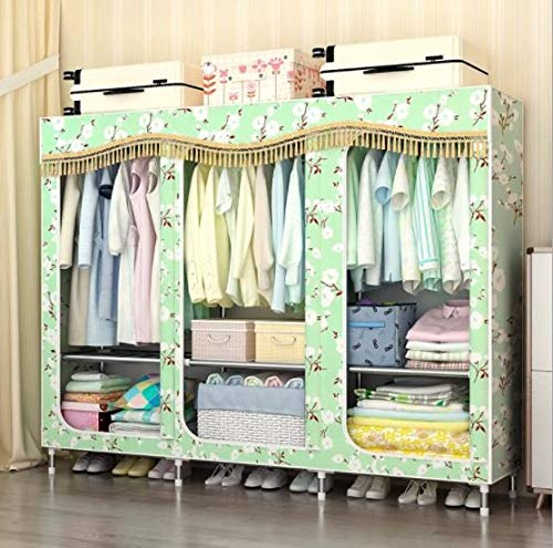 Lmz eenvoudige stoffen garderobe stalen frame kraan versterking volledig omsloten grote dubbele dikte katoenen garderobekast
