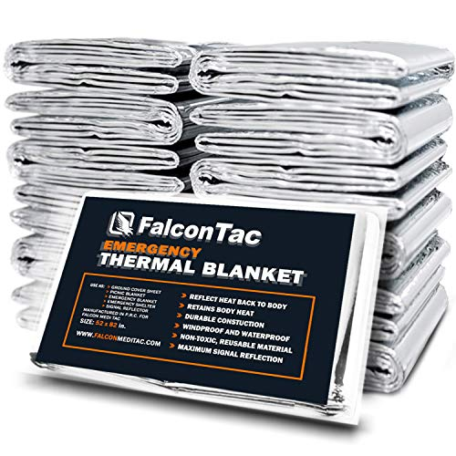 FalconTac Emergency Thermal Blanket, Pack of 10 Space Blanket, Survival Blanket -Mylar Blanket Designed NASA  Perfect for Outdoor, Hiking, Survival, Emergency Camping, First Aid Kit