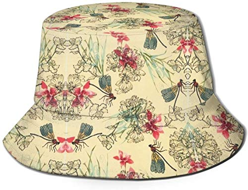 DUTRIX Chinese Style Flowers and Dragonflies NRENRE Unisex Outdoor Travel Sun Bucket Hat Summer Fisherman Cap
