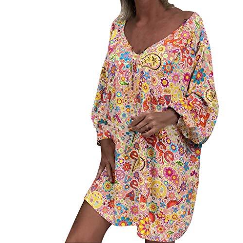 Xmiral Maxi Vestito Irregolare da Donna Abiti a Manica Lunga Irregolare con Stampa Floreale e Spalle Scoperte Vintage Boho Layer Abito Lungo (5XL,2- Arancia)
