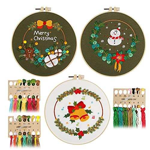 刺繍キット 刺しゅう クリスマス飾り 3セット パッタンあり クロスステッチキット 初心者向け DIY 手作り 刺繍枠3本 内径約20CM 刺繍糸 3個セット