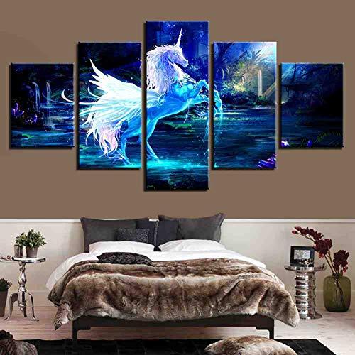 GIAOGE Wooncultuur, canvas, muurkunst, schilderkunst, poster met 5 panelen, droomeenhoorn, voor woonkamer, moderne Hd gedrukt, landschap fotolijst ohne gerahmt 30x40 30x60 30x80cm