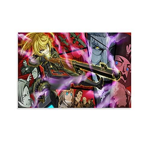 Póster de anime Saga de Tanya The Evil Tanya3 Pintura decorativa en lienzo para pared, para sala de estar, dormitorio, 60 x 90 cm