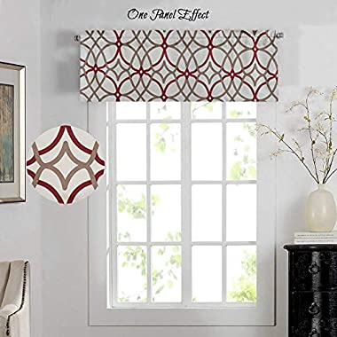 H.VERSAILTEX Energy Saving Curtain Valances Matching with Curtain Panels (Rod Pocket,52 by 18 Inch,Geo in Taupe and Red)