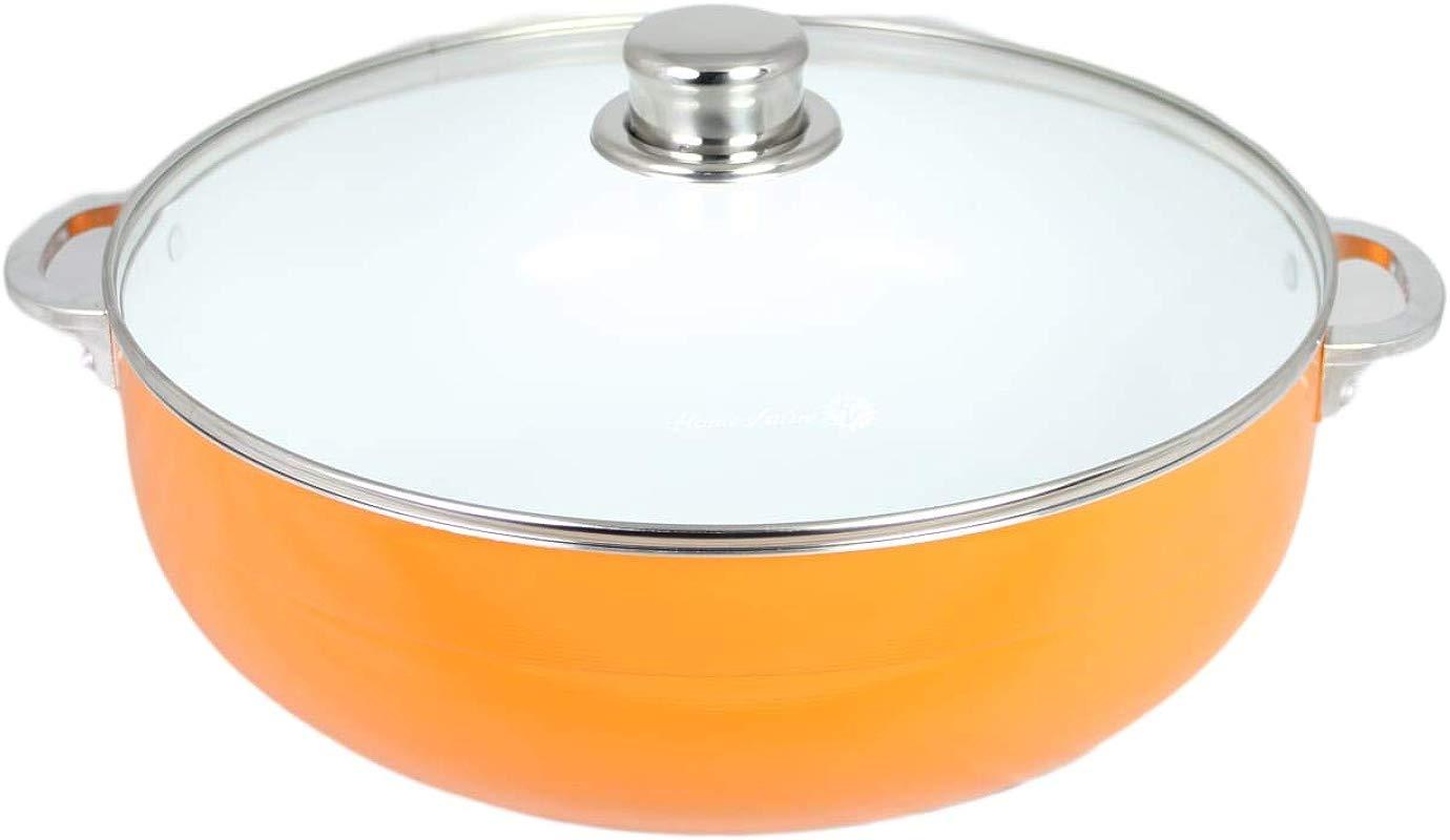 Home Value 3 Mm Thickness Nonstick Caldero With Glass Lid Ceramic Interior Assorted Sizes ORANGE 1 5 QT
