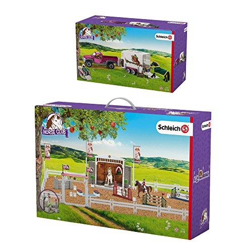 Schleich Horse Club 2er Set 42338 42346 Großes Reitturnier mit Pferden + Pick up mit Pferdeanhänger