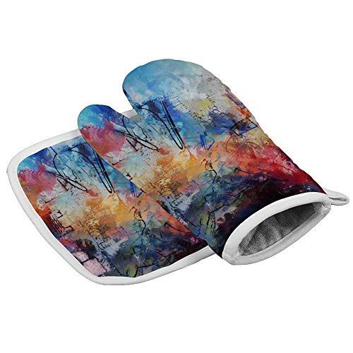 Thermo-Handschuhe, bunt, zeitgenössisch, professionell, hitzebeständig, inklusive isolierten Handschuhen und isolierten quadratischen Pads