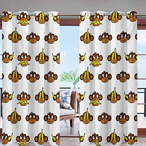 Grommet Top Curtain Panel Pair Blackout Drapes Funny Monkeys with Bananas Various W84 x L108 for Front Porch Lawn Corridor Patio Door
