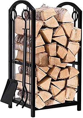 Elex Trendi Fireplace Log Rack 16 x 29.2 x 12inch with 4 Fireplace Tools Wrought Iron Firewood Holders Indoor Wood Stove Outdoor Fireplace Heavy Duty Wood Stacking Wood Storage Kit for Fireplace Tool