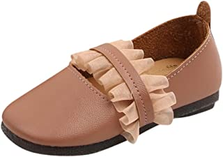certainPL Little Girls Princess Party Shoes, Infant Kids Baby Girls Leather Lace Ruffle Strap Casual Single Shoes Girls Cute Sweet Elegant Soft Princess Shoes for 1-6 Years Old
