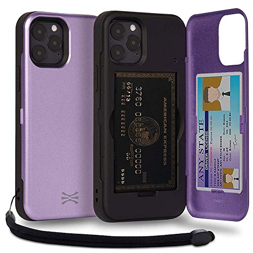 TORU CX PRO Compatible with iPhone 12 & iPhone 12 Pro Case - Protective Dual Layer Wallet Purple with Hidden Card Holder + ID Card Slot Hard Cover, Strap & Mirror - Lavender