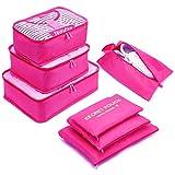 Yiran 7 Set Organizzatori di viaggio imballaggio cubi di lavanderia sacchetto dei bagagli Compressione Sacchetti Bag in sacchetto dell'organizzatore per i vestiti,Cosmetici,scarpe (Pink)