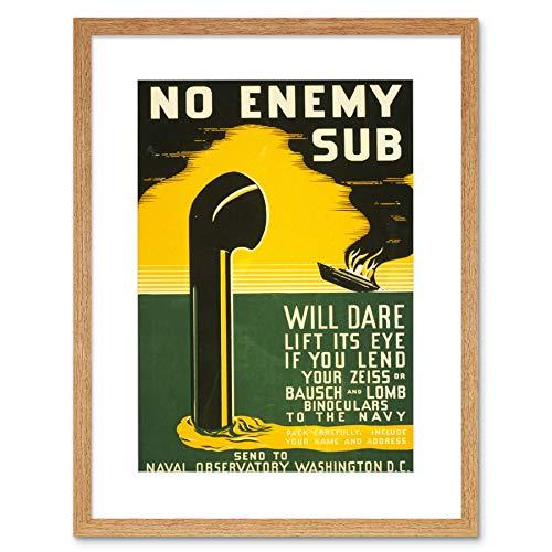 Wee Blue Coo Vintage Ad Verrekijker Naval Observatory Zeiss Bausch Omlijst Muur Art Print
