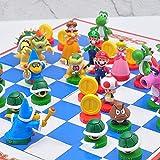 32Pcs Super Mario Chess Juego Clásico Edición De Coleccionista Tablero De Ajedrez Rompecabezas Figuras De Dibujos Animados Modelo Juguetes 4-8Cm Mario Vs Bowser Chess Mario Party