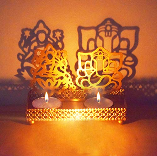 Lakshmi Ganesha ( Shubh Labh) Shadow Diya. Deepawali Traditional Decorative Diya in Laxmi Ganesh Statue for Home/Office Religious Tea Light Candle Holder Stand. Diwali Decoration Gift (Design 1)