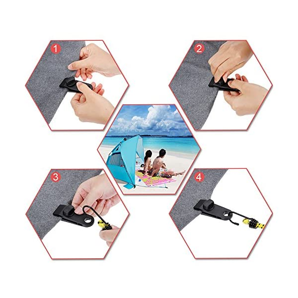 Rovtop 6 Pcs Tarp Clips Lock Grip Awning Clamp Set Instant Clip Tent Accessories,Black