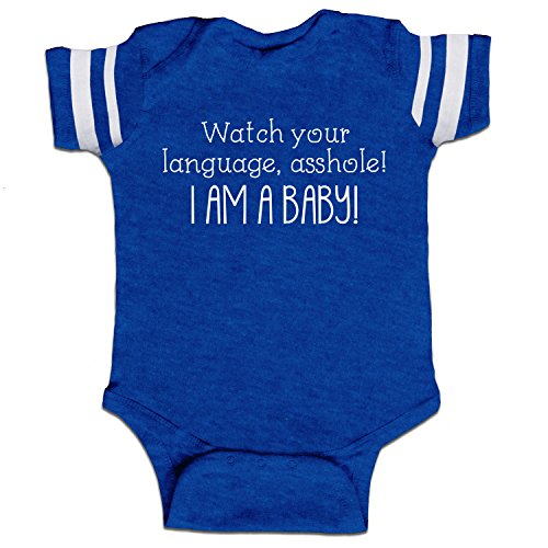 Watch Your Language, Asshole! I Am A Baby! Funny Baby Boy Bodysuit Infant - Royal Stripes - 24 Month