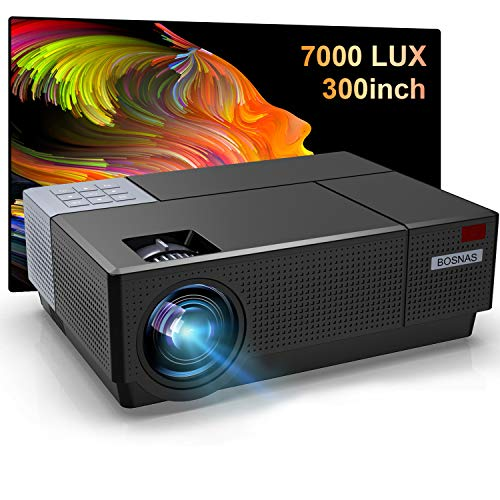 1920×1080P HD Projector,BOSNAS Upgrade 7200 Lux Video LED LCD Projector Home Theater&Outdoor Backyard 300 Inch Movie Display 4D Keystone Correction Zoom Function Support 4k for TV HDMI PC iOS Android