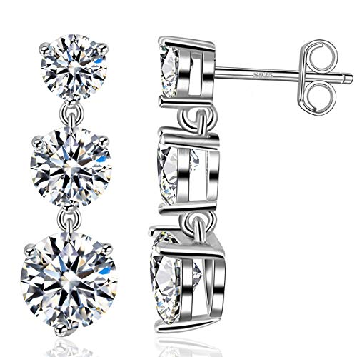 Dangle Stud Earrings for Women 18k White Gold Plated 925 Sterling Silver Ear Stud with 5A Cubic Zirconia Love Jewellery (White Gold-3 Round)