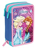 Astuccio 3 Zip Disney Frozen Ice Magic, Rosa, Con materiale scolastico: 18 pennarelli e 18 pastelli...