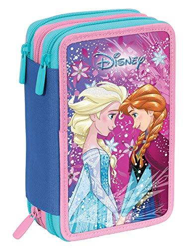 Astuccio 3 Zip Disney Frozen Ice Magic, Rosa, Con materiale scolastico: 18 pennarelli e 18...