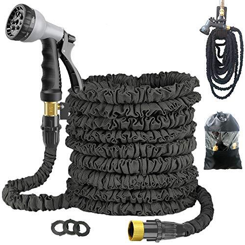 Expandable 50FT Garden Hose Pipe - Lightweight, Durable& Felxible - 8 Function Spray Gun/Hose Hanger/Storage Bag/Brass Fittings for Lawn/Pet/Car/Boat Wash (50FT-Black)