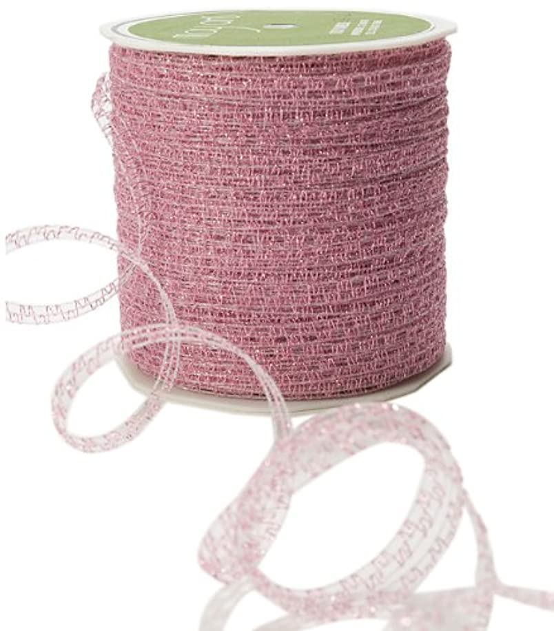 May Arts 1/8-Inch Wide Ribbon, Fuchsia Curly Sparkling