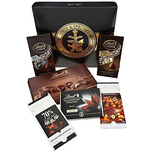 Lindt Zartbitter-Schokoladen-Geschenkbox, mitternachtsschwarze Geschenkverpackung mit goldener Lindt-Siegel-Prägung, bestückt mit einer feinen Auswahl an feinherben Chocoladen, 847g