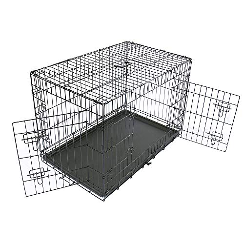 Greenbay Dog Crates Double Doors Foldable Metal Pet Puppy Cage with Tray Training Traveling Crate Small (24 Inch)