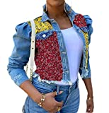 GRMO Women Classic Print Ripped Button Up Jacket Long Sleeve Slim Fit Jeans Coat Light Blue L