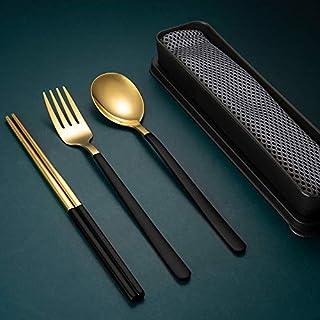 Youda Stainless Steel Chopsticks Reusable Spoon Fork Portable Travel Utensil Flatware Set, 3 PCS Stainless Steel Fork Spoo...