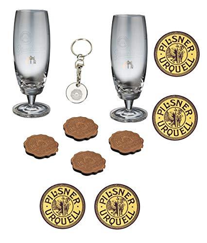 Pilsner Urquell Birra Set 11 Pz. Bicchieri sottobicchieri Legno Portachiavi